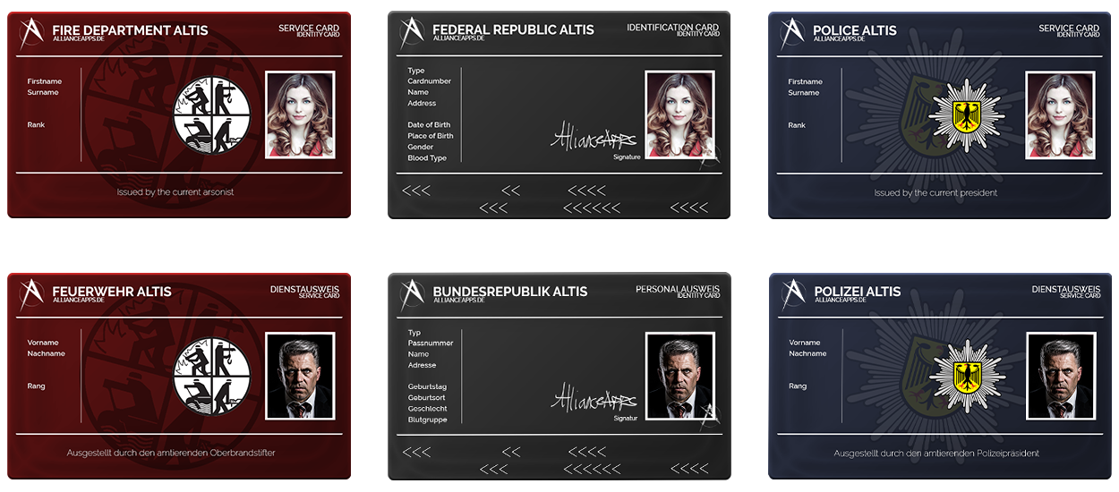 ID cards for medics (fire department), civilians and police